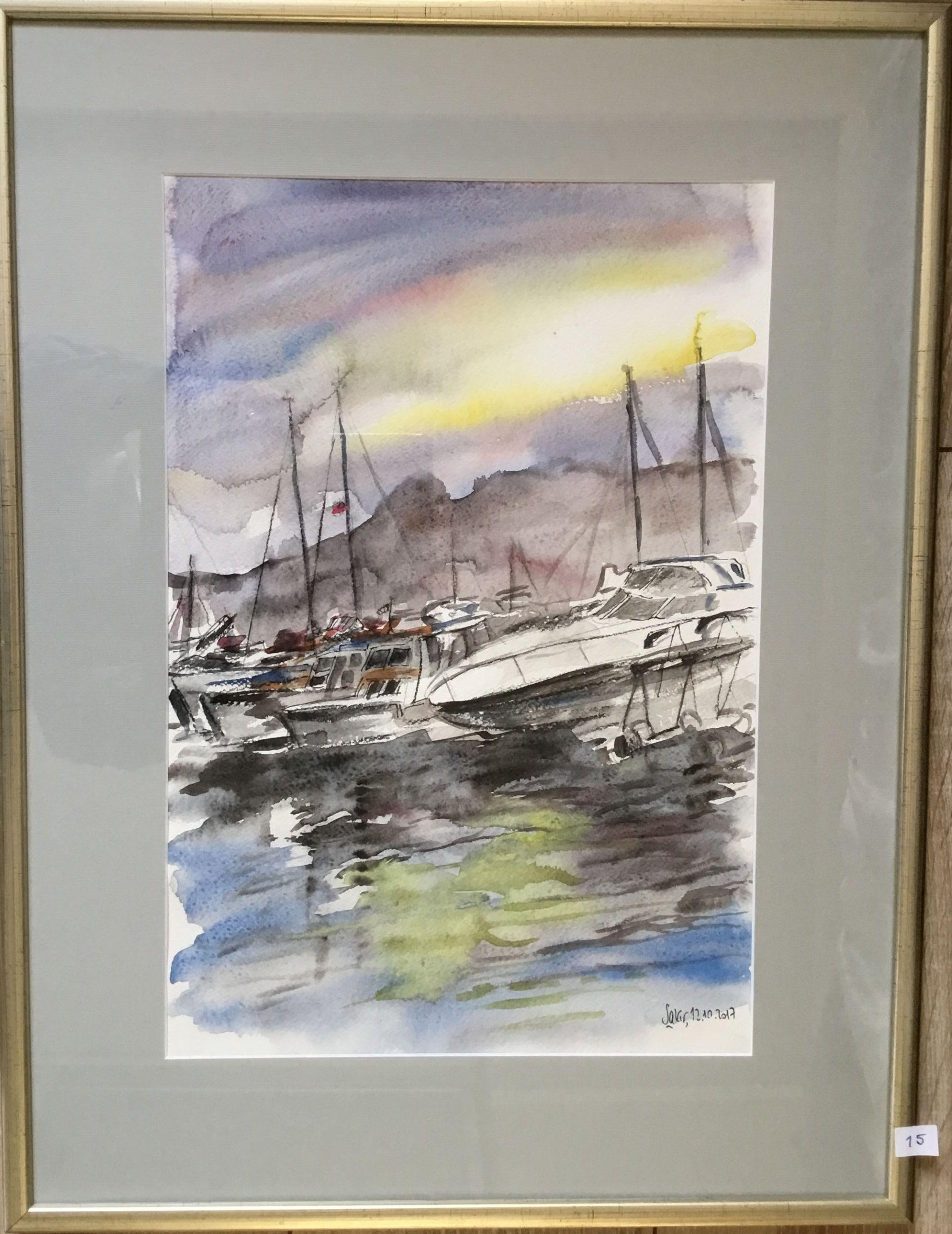15.Urla, Tekneler, Suluboya, 45×30