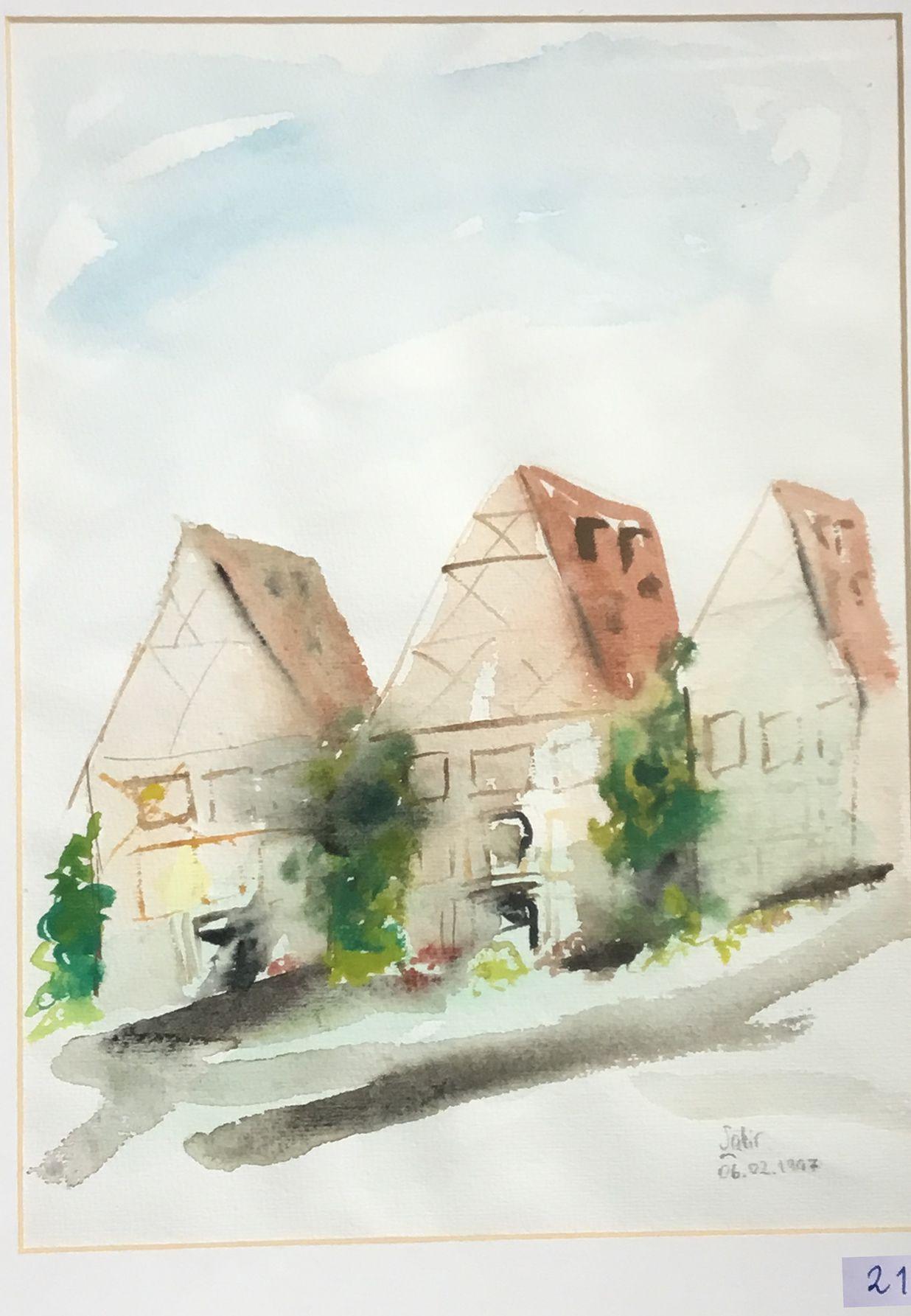 21.Üç Komşu Ev, Franken, Suluboya, 30×35