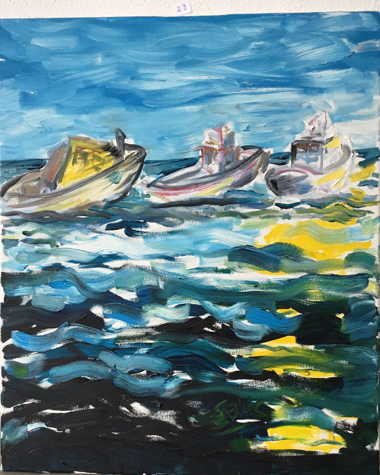 23.Fırtınada Üç Tekne, Tuval Üzerine Yağlıboya, 50×60