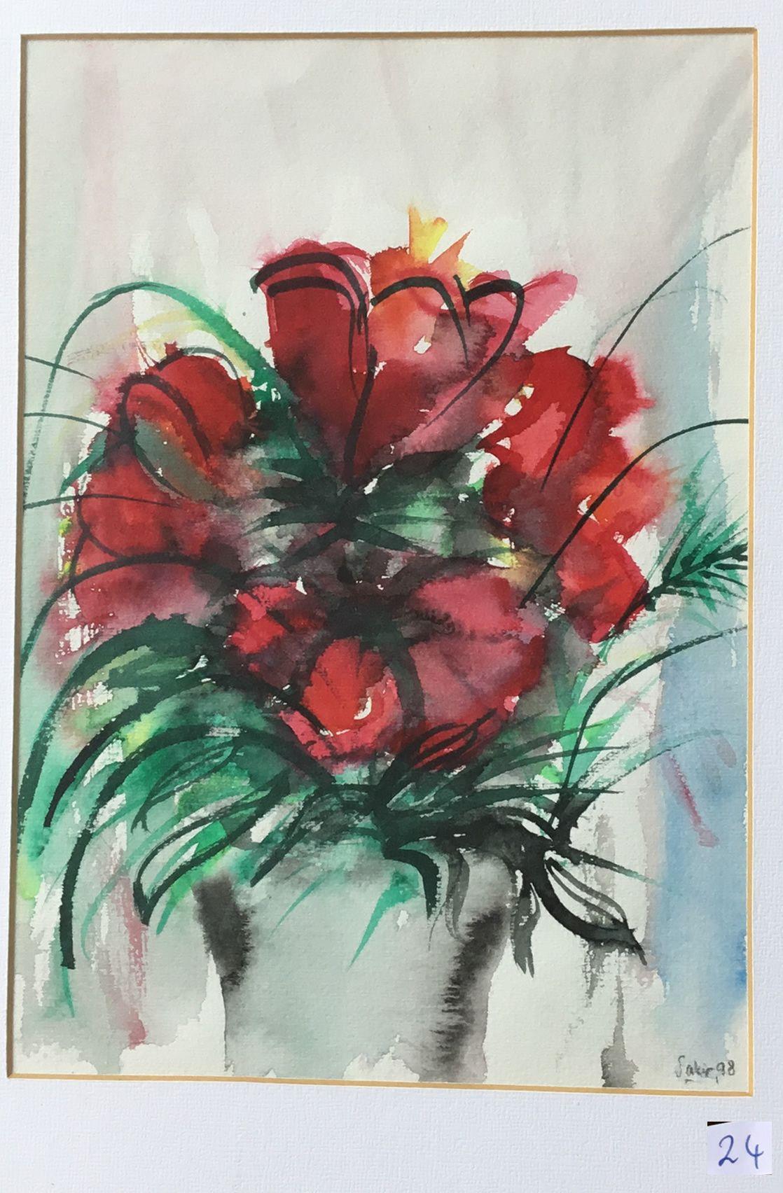 24.Dört Kırmızı Zambak, Suluboya, 20×30