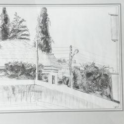 28.Lefkoşa Evleri, Karakalem, 40×50