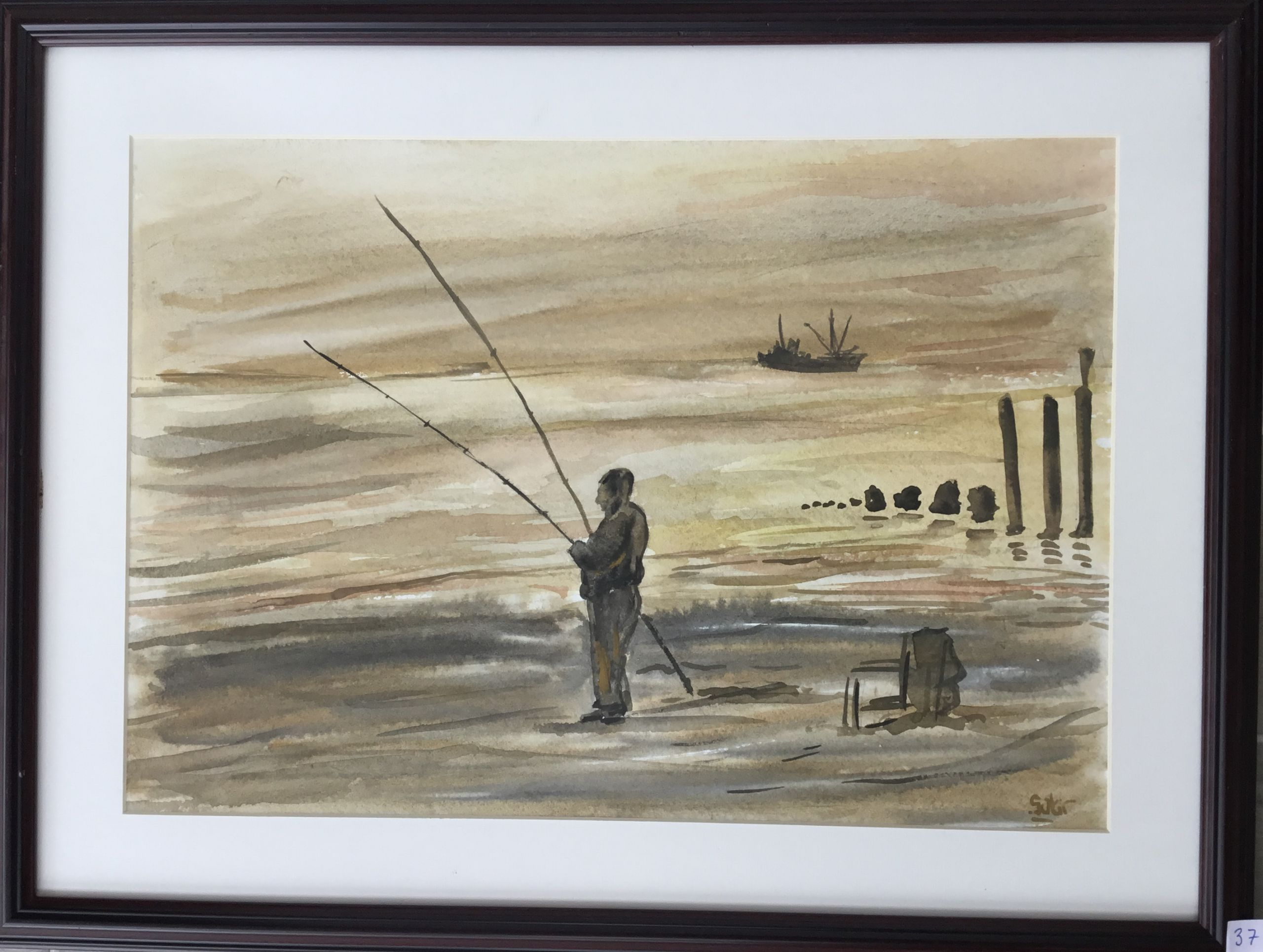 37.Balıkçı, Suluboya, 35x50jpg