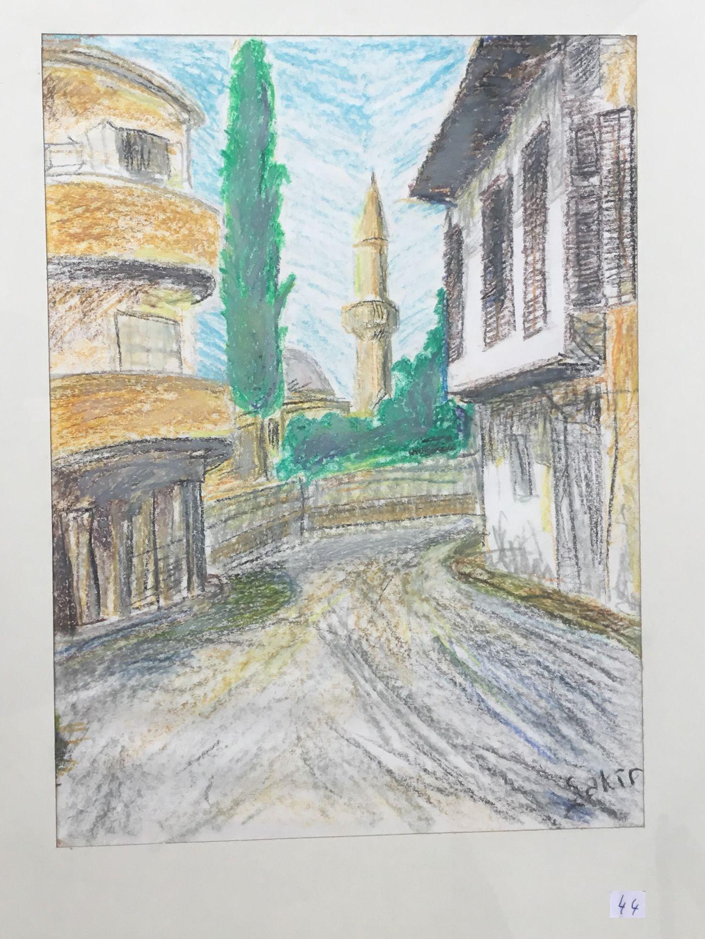 44.Lefkoşa Arap Ahmet Mahallesi, Boyama Kalemi, 30×40
