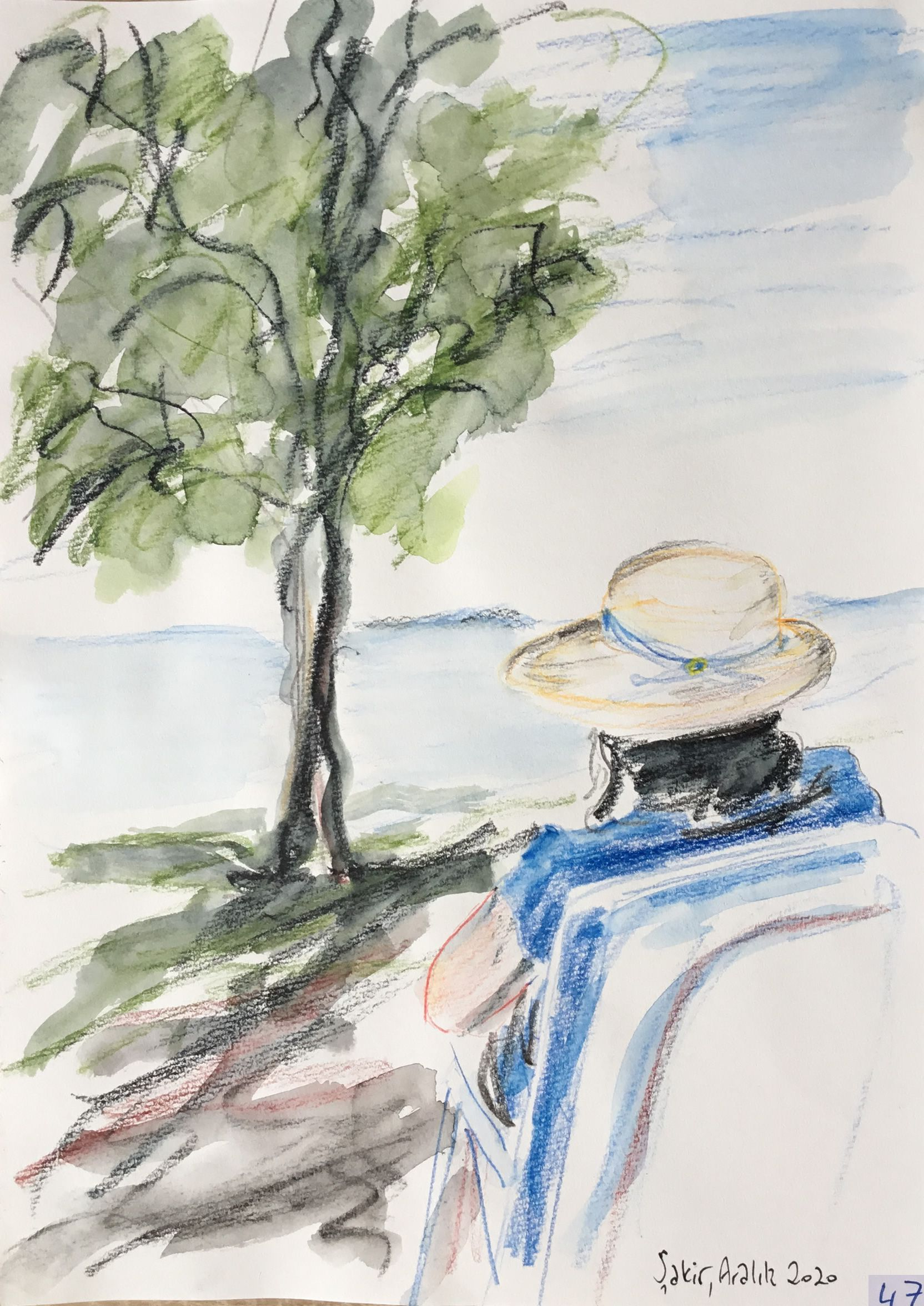 47.Denizi seyrederken, Suluboya Kalemi, 25×35