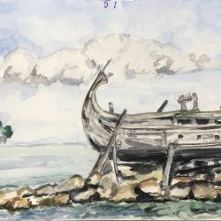51.Finike Teknesi Urla, Suluboya, 21×30