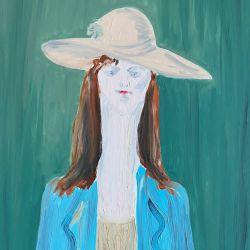 56.Şapkalı Kız, Tuval Üzerine Yağlıboya, 51×76