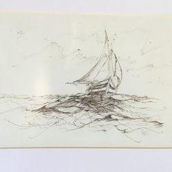6.Yelkenli, desen çalışması, 19×27